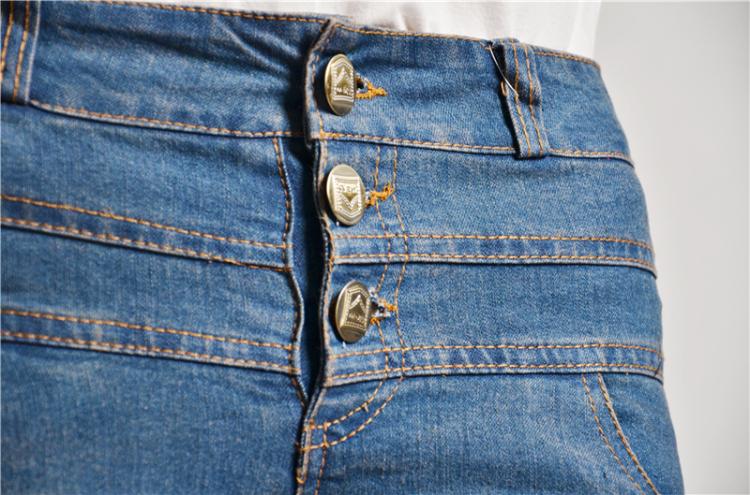 腰排扣牛仔裤女复古色