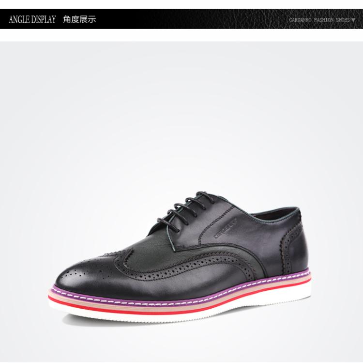 鞋子真皮布洛克鞋男