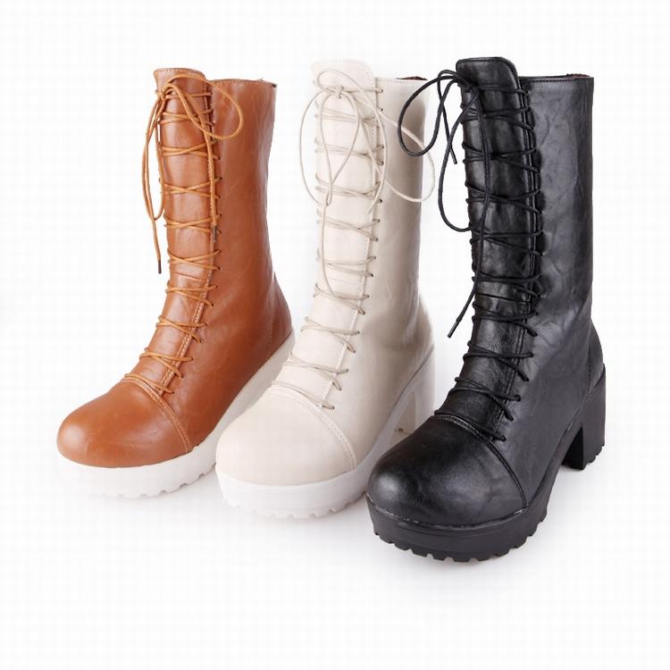 2014春季新款女鞋机车靴系带方跟中跟