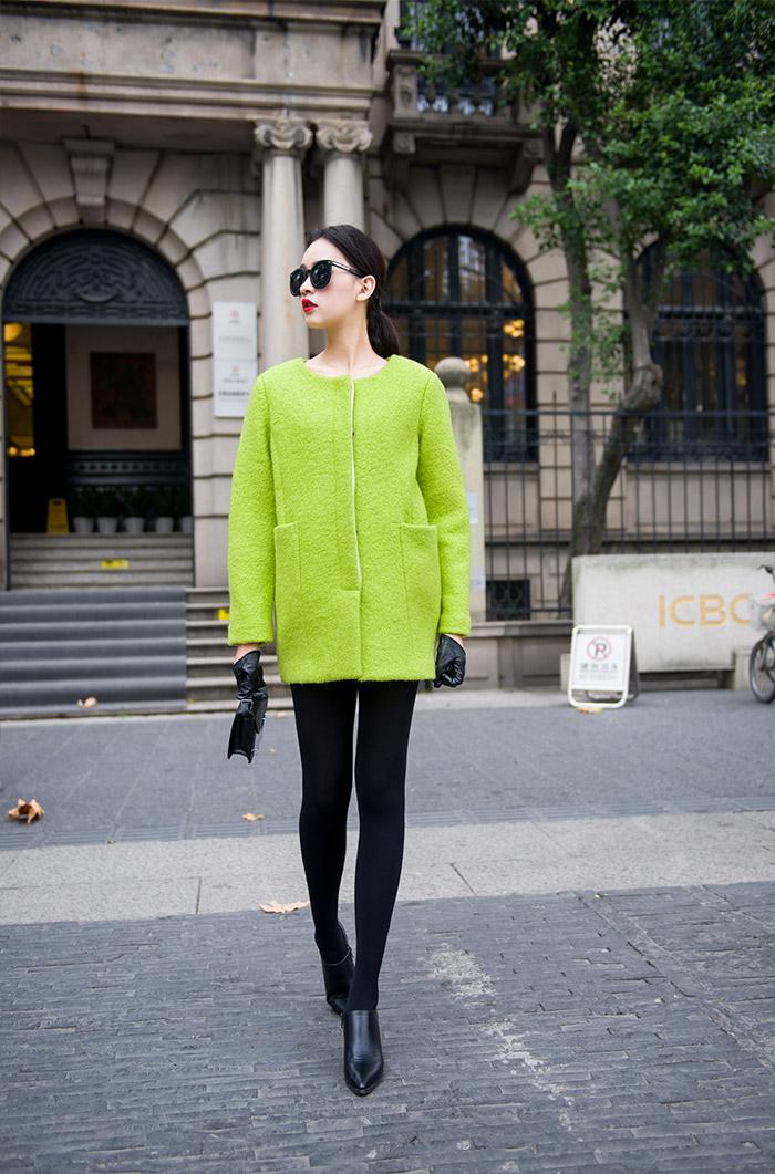绿圆领茧型羊毛呢大衣外套