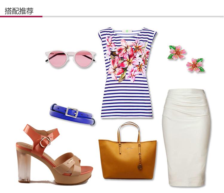 皇妹2014 新款正品 夏季糖果色防水台粗跟凉鞋