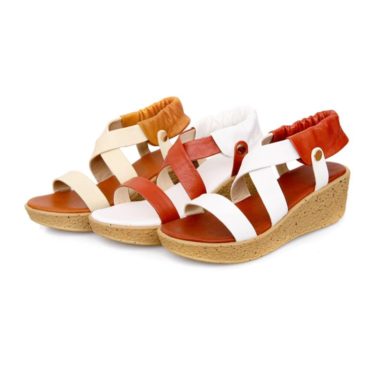ruonan时尚新款凉鞋女款头层牛皮舒适坡跟牛筋底凉鞋