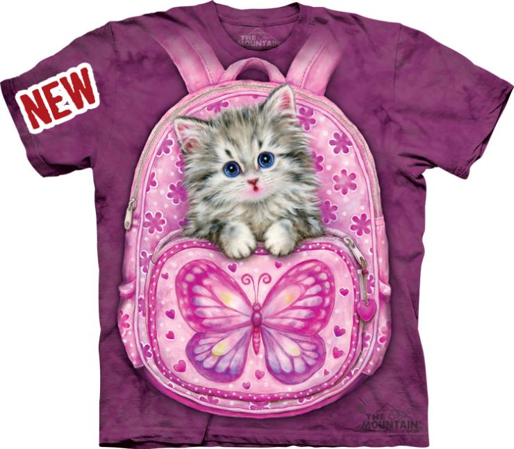 mountain男装t恤3d立体紫色书包猫咪