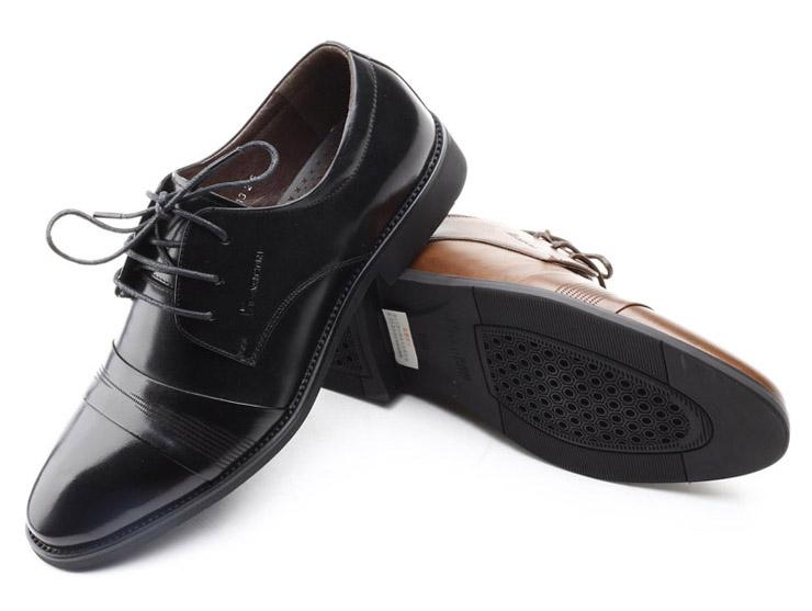 意尔康男鞋真皮头层牛皮鞋春秋系带男单鞋英伦商务