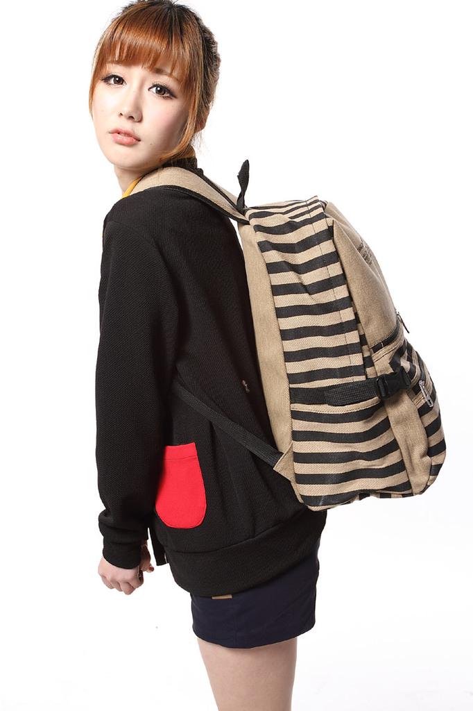 新款女士双肩包 韩版优质水洗帆布女背包