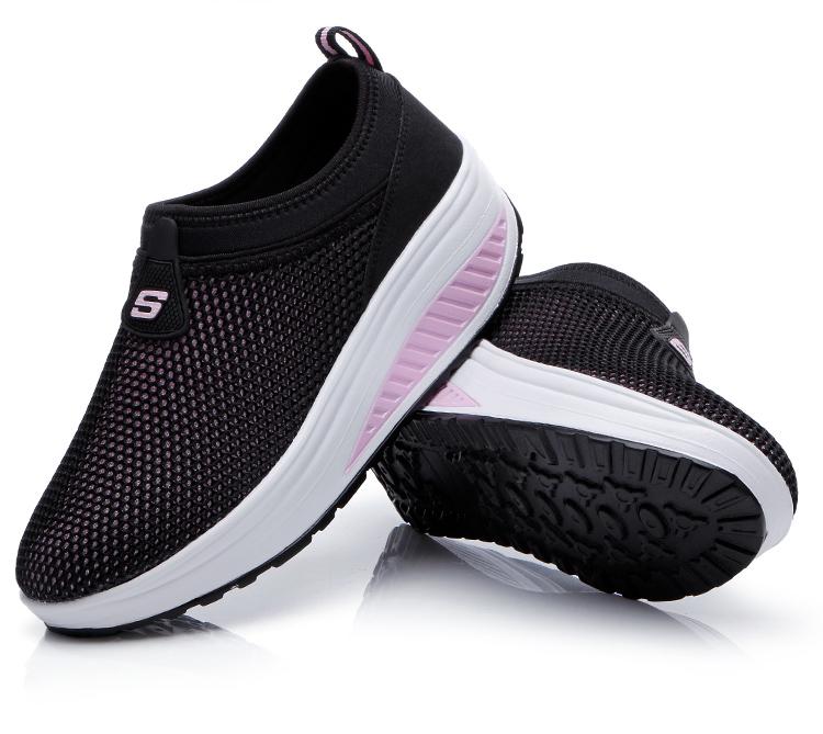 米洛克新款摇摇鞋女运动鞋网布网面女鞋休闲鞋摇摆鞋