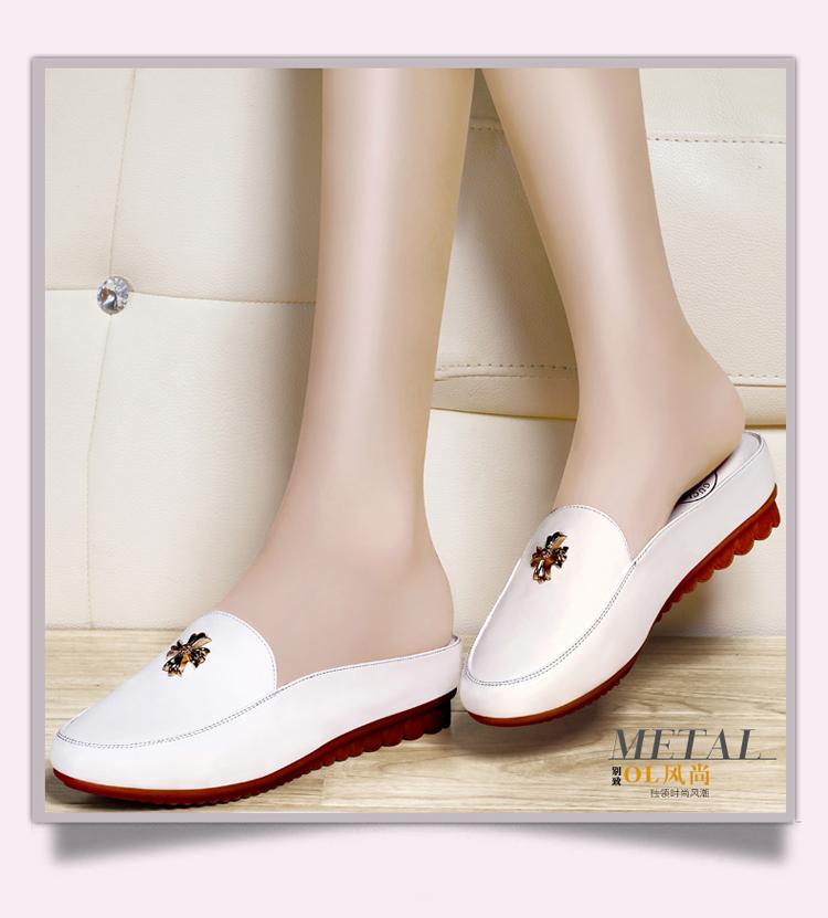 古奇天伦凉拖鞋女单鞋平底夏季甜美女鞋包头凉鞋漆皮