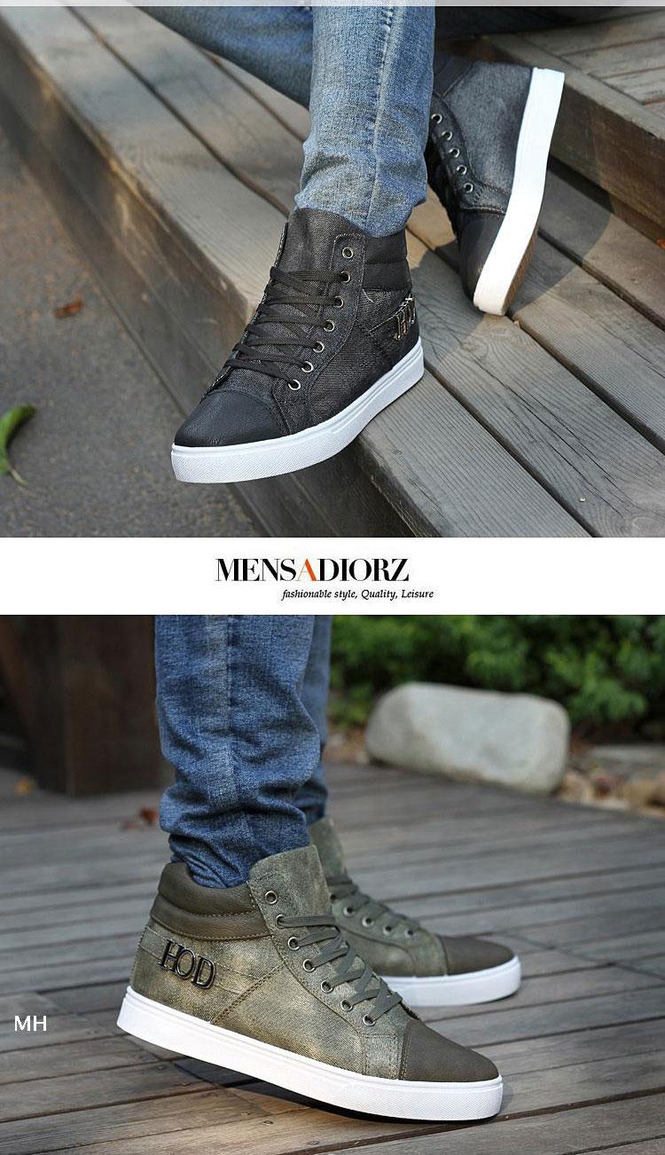 休闲鞋高帮帆布鞋子韩版潮流英伦时尚男生非主流