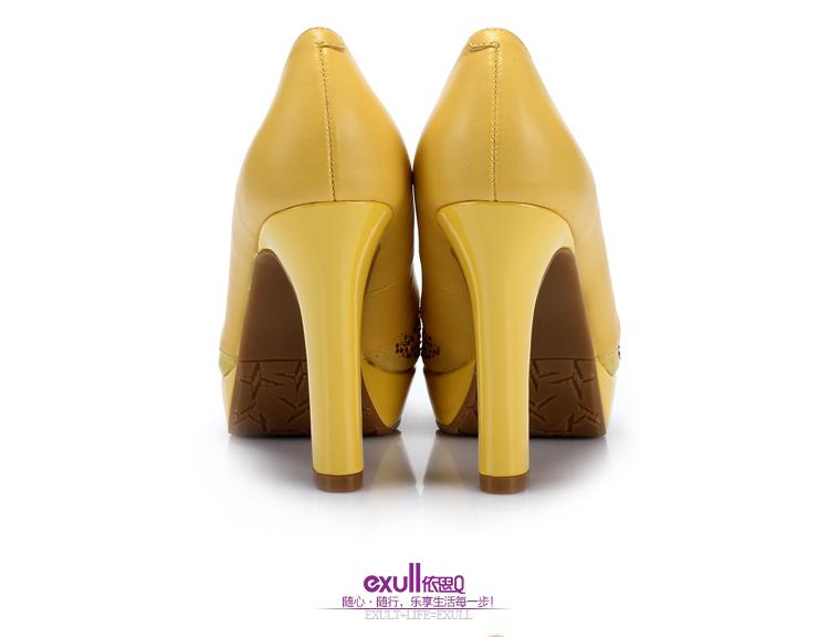 exull依思q2014春季鱼嘴新款单鞋时尚优雅水钻高跟鞋