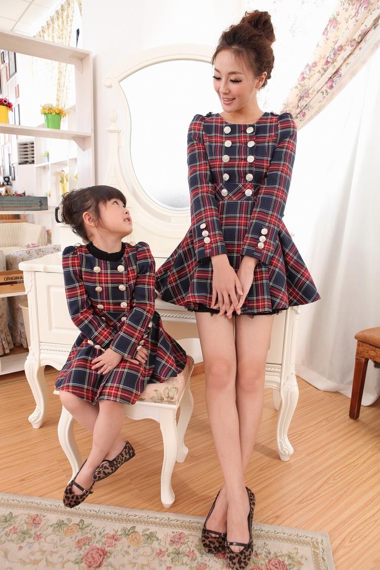 【货到付款】秋款格子双排扣亲子装母女装连衣