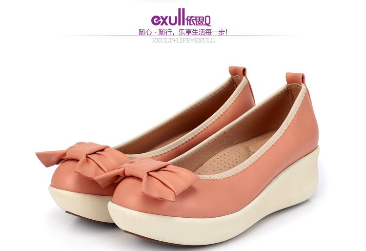 exull依思q2014新品单鞋甜美休闲舒适松糕坡跟蝴蝶结