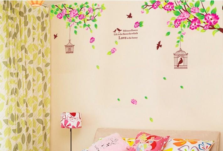 除墙贴饰 卧室床头墙贴画 沙发电视背景婚房装饰结婚墙贴 芙蓉花