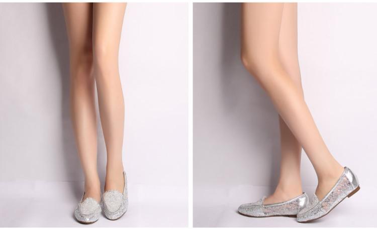 tata/他她2014年春季银色绣花网布/银色牛皮女皮鞋