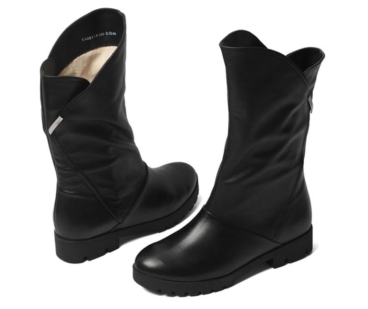 tata/他她2013冬季黑色小牛皮女皮靴l2sv0dz3