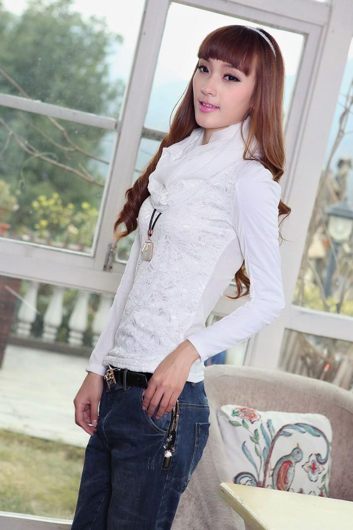 哇噢2013女装新款春秋装韩版圆领长袖修身蕾丝衫