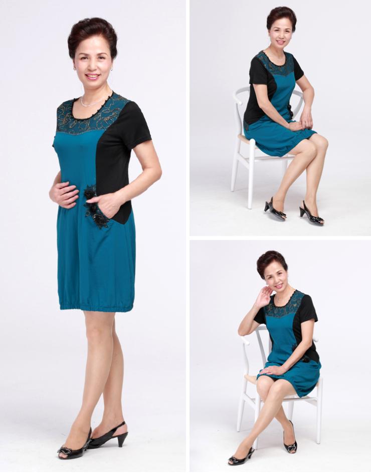 芯羊2013中老年女装夏季新款妈妈装拼接色圆领短袖