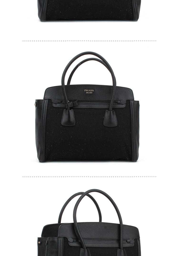 prada普拉达 女款牛皮黑色手提包