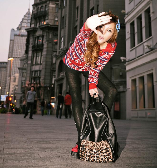 莎玛特 2013新款韩版风范豹纹包包休闲双背包朋克