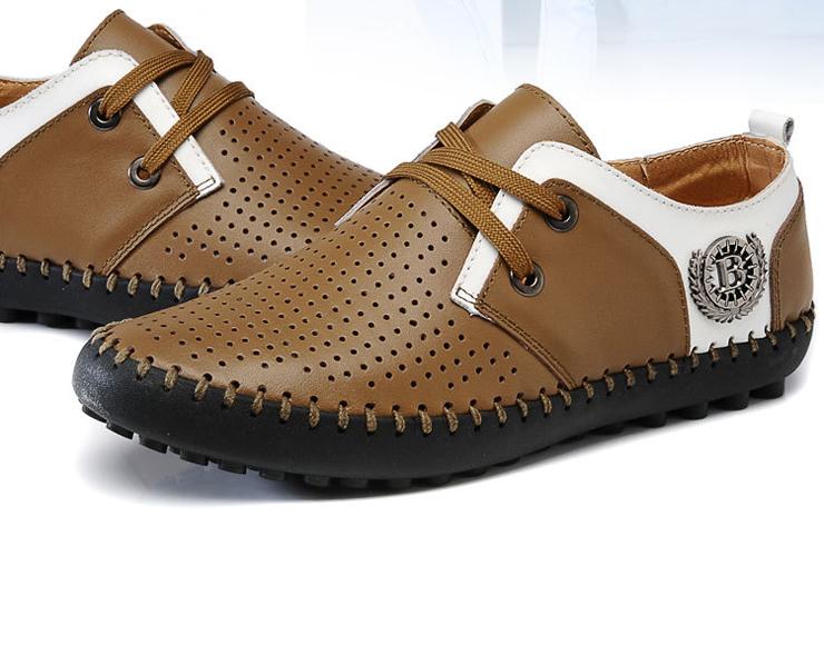 专柜正品新款时尚潮流休闲男鞋透气网布男皮鞋
