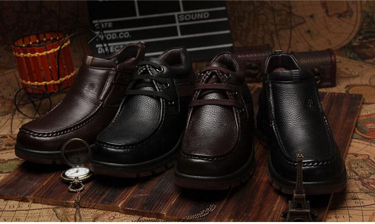 皮鞋男士保暖加绒