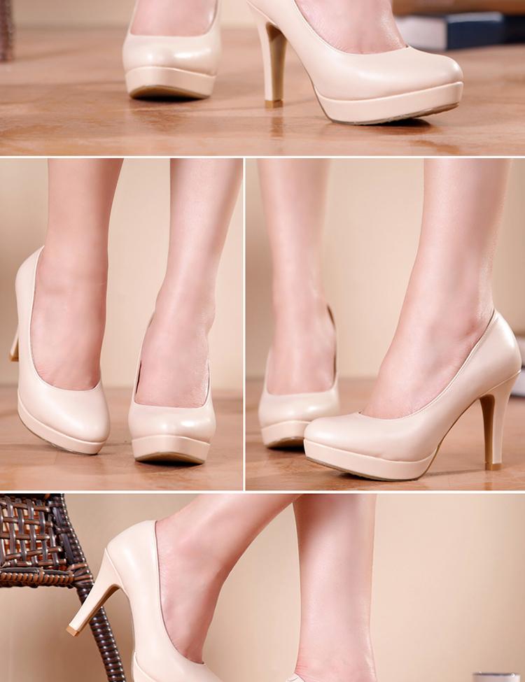 大东2014春新款单鞋防水台通勤ol风高跟女鞋浅口粗跟