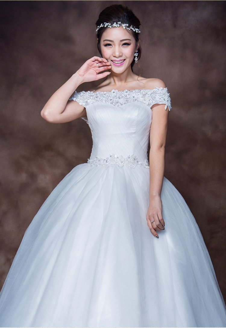 蕾丝一字肩2014婚纱礼服