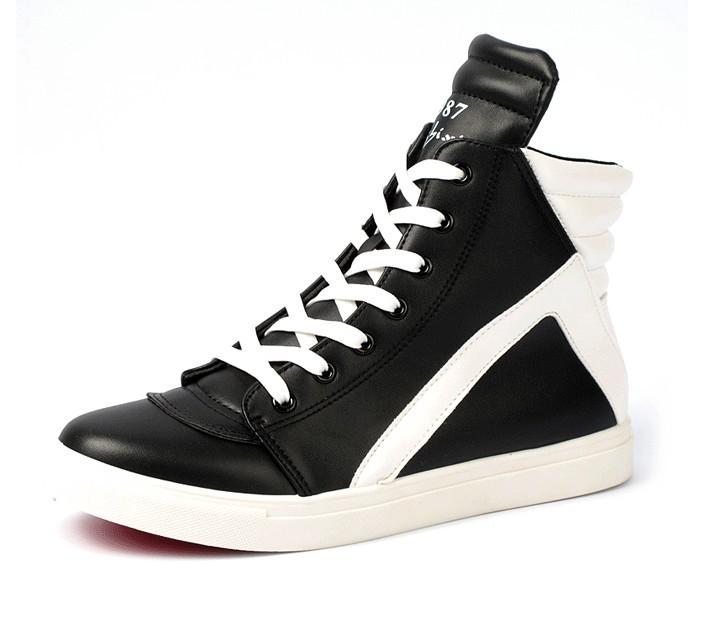 潮公子男装春秋款时尚鞋子欧美风格拼接黑白潮流靴鞋