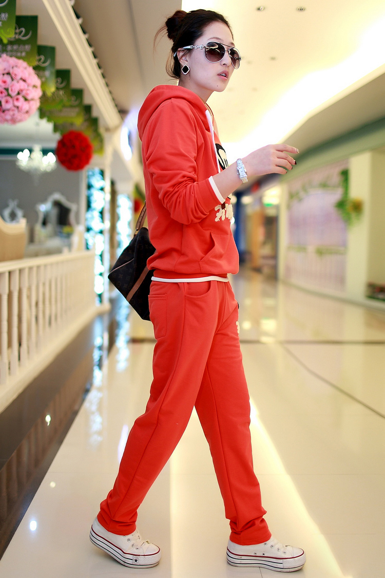 韩版长袖大嘴猴卫衣运动套装女休闲套装运动服