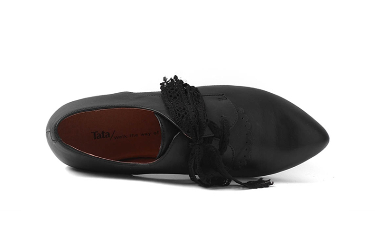 tata/他她2013秋季黑色小牛皮女皮鞋l2wr2cm3