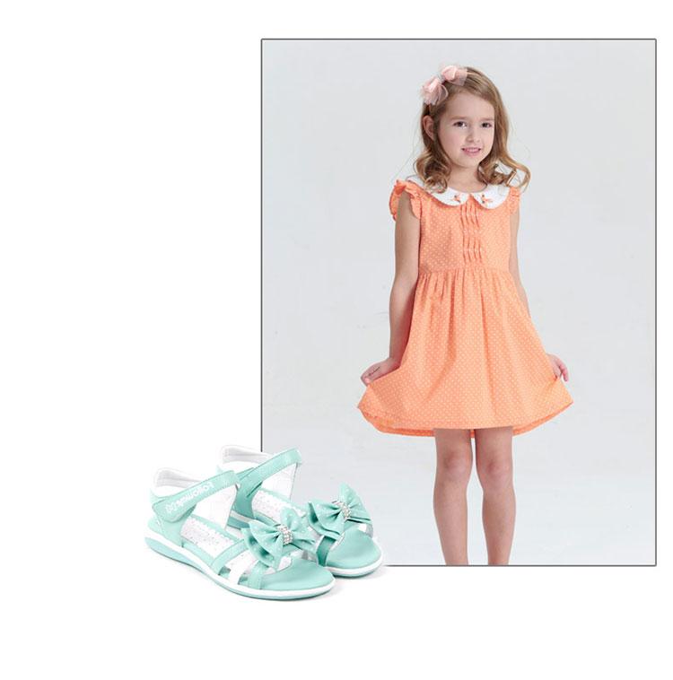 富罗迷女童凉鞋2014夏季新款韩版羊皮真皮童鞋女大童