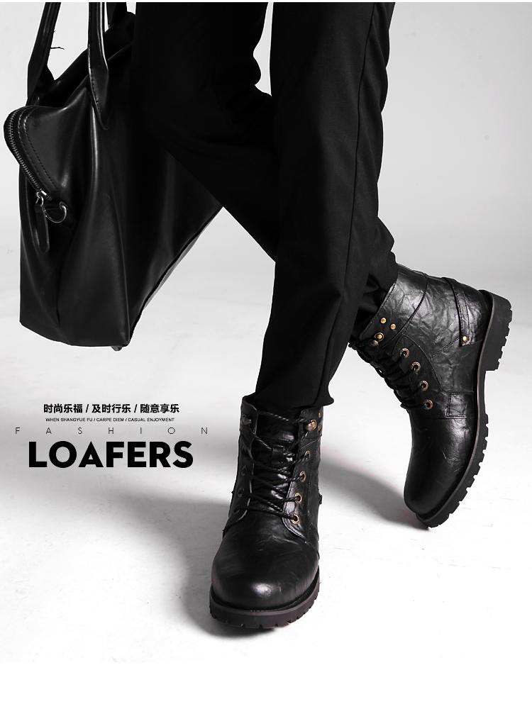 男士高帮保暖棉鞋加绒男鞋时尚男靴工装靴