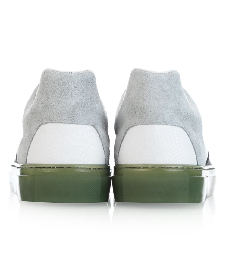 巴黎世家 白色帆布拼接灰色麂皮男士休闲鞋
