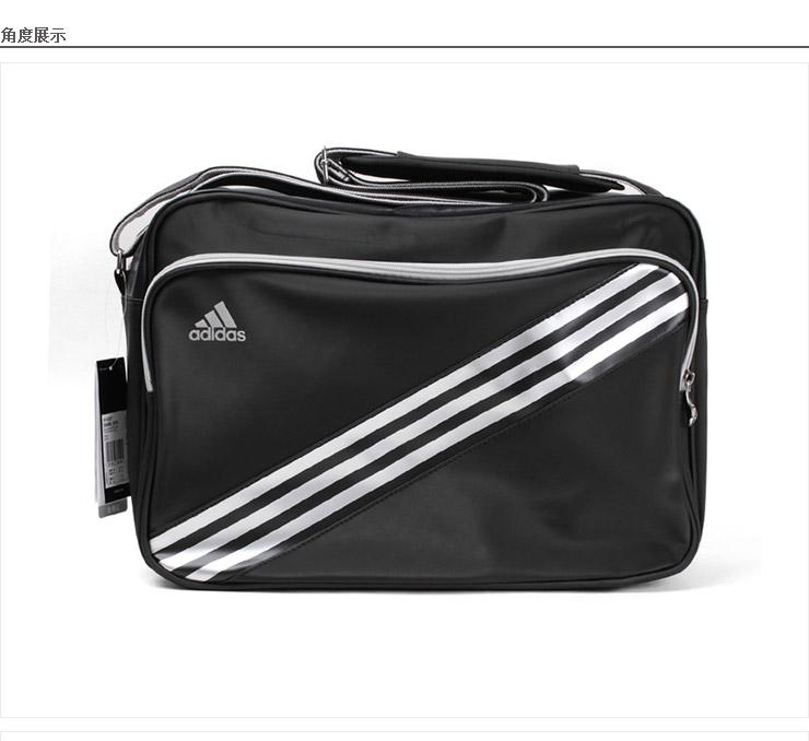 阿迪达斯单肩包 adidas经典三条纹肩挎肩背包