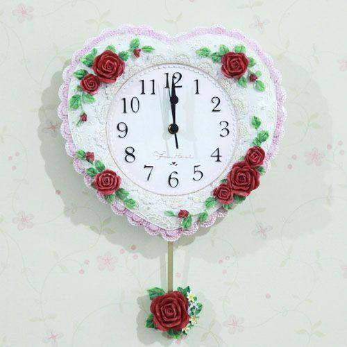 红兔子 欧式宫廷浪漫心型挂钟 玫瑰浮雕挂钟 客厅挂钟 AJH60