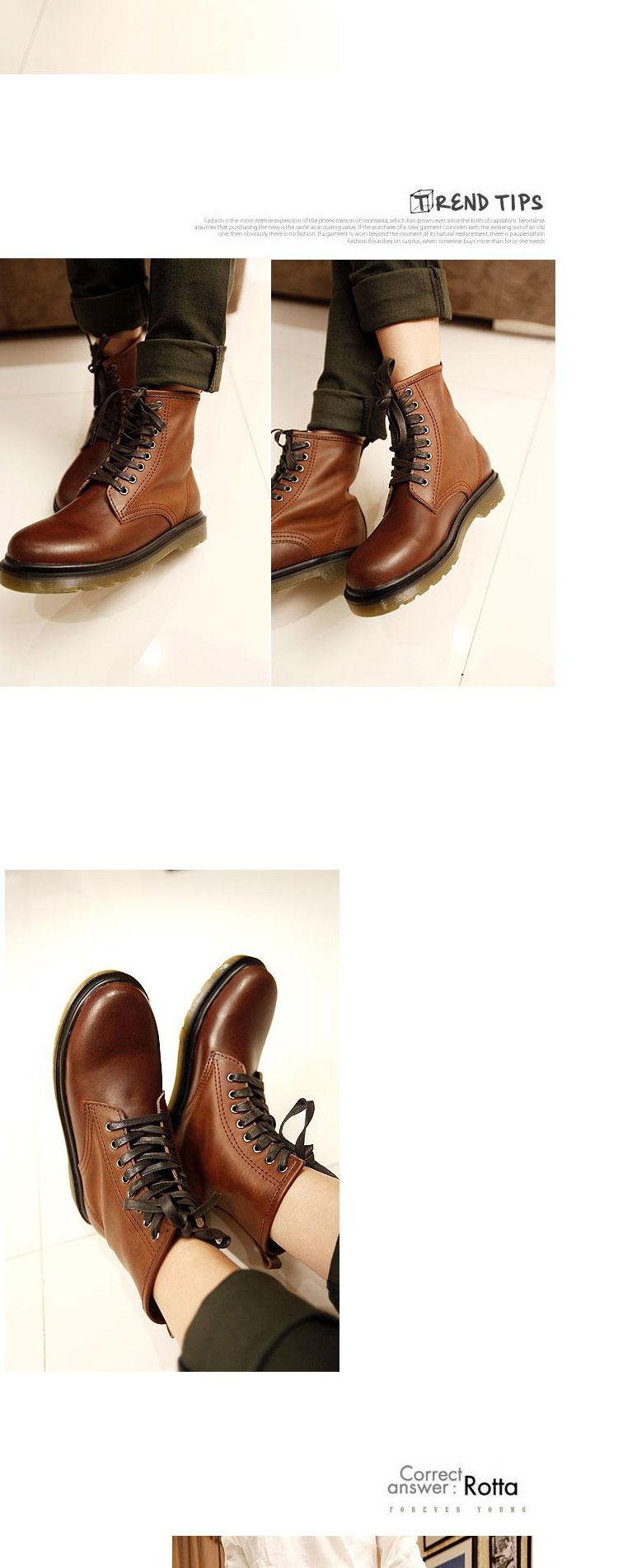 中筒男式系带靴子