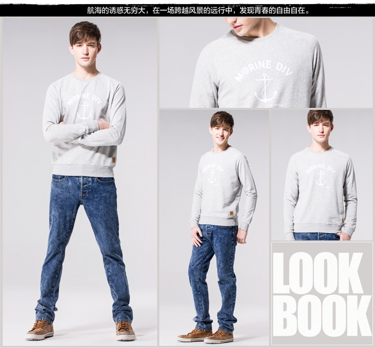 Giordano Giordano Men's T-shirt @ anchor flocking Monogram pullover sweater gray flowers in codes 03 (170/96A)
