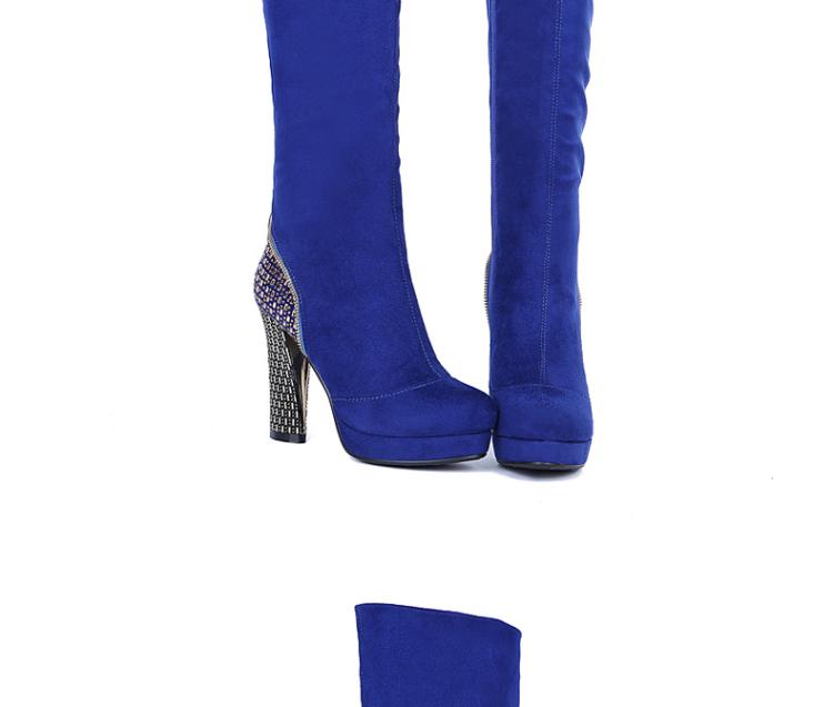 时尚女鞋粗跟防水台高跟鞋过膝长靴休闲马丁鞋子女