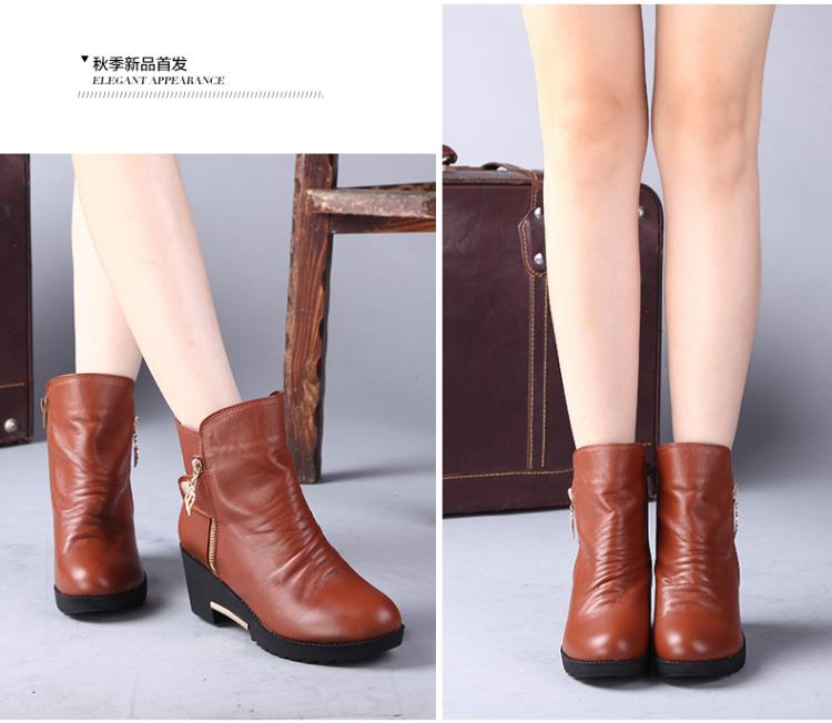 女鞋女靴子粗跟短靴子