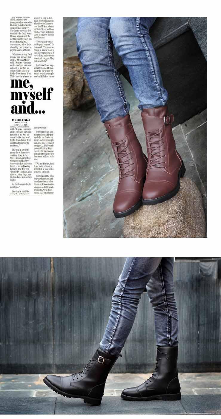 米洛克男士靴子高筒马丁靴男铆钉靴男靴韩版潮流作jp
