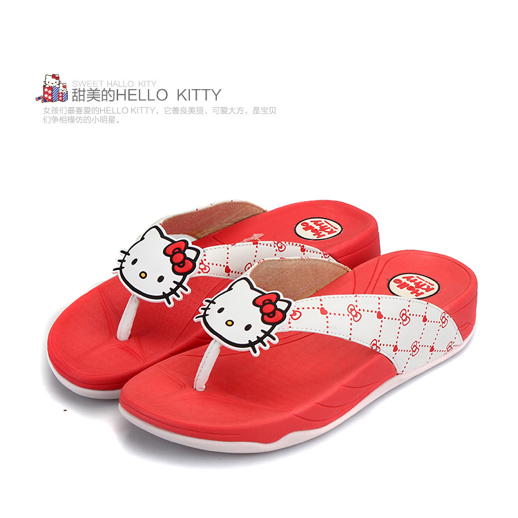 hello kitty2014新款女拖鞋卡通正品凉鞋女夏季夹脚
