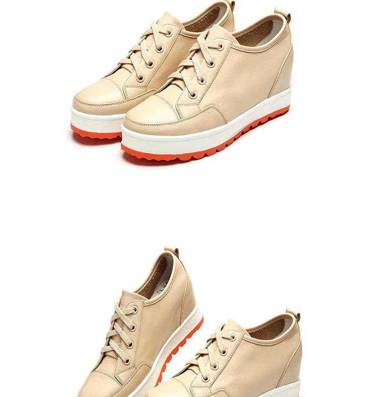休闲鞋内增高女鞋时尚深口厚底撞色单鞋系带松糕w1-1