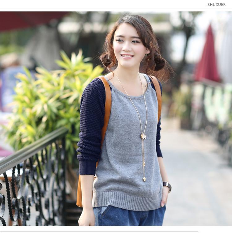 舒雪儿2014春装新款套头打底毛衣韩版宽松长袖打底衫