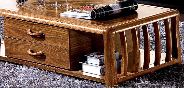 现代中式客厅家具 虎斑木实木茶几 带储物功能