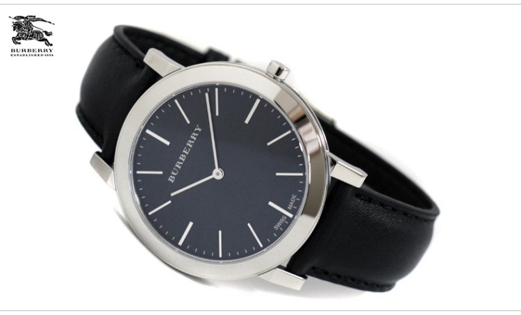 burberry巴宝莉手表 时尚休闲简约皮带圆形男士手表