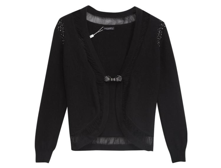 女装新款大v领圆摆镂空百搭纯羊绒针织衫开衫短外套
