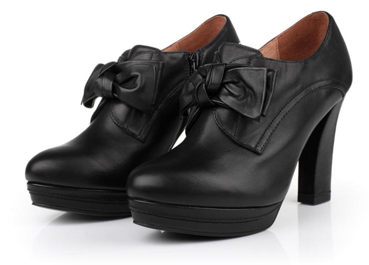 tata/他她秋黑色小牛皮女皮鞋2gj34cm2