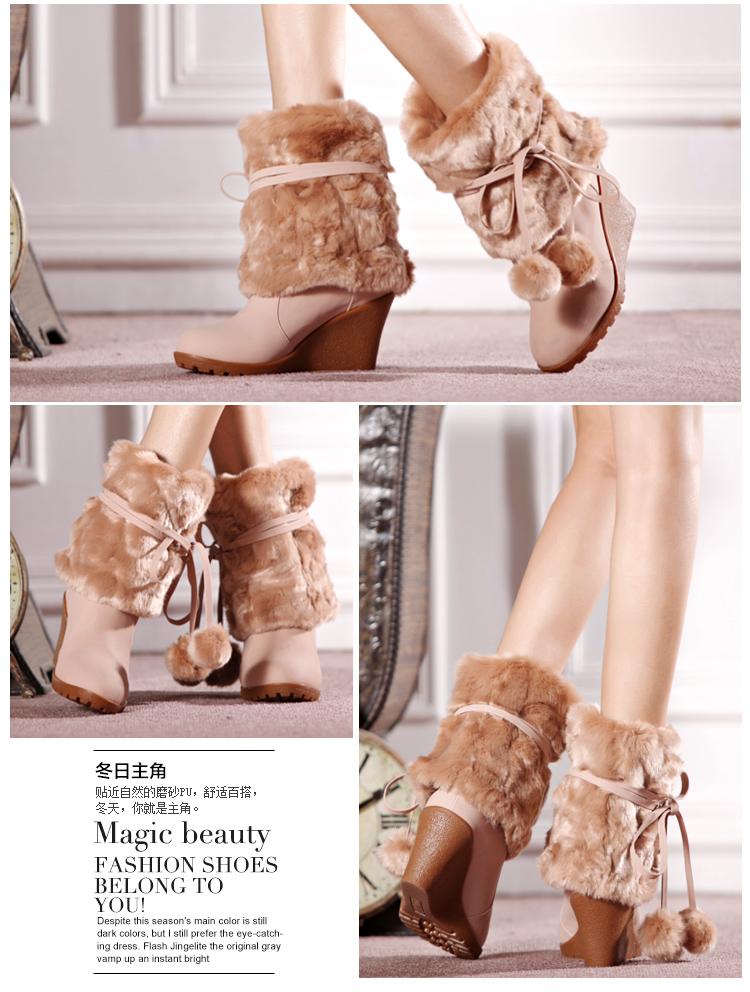 中筒靴子时尚甜美女靴舒适坡跟鞋保暖雪地靴女靴子