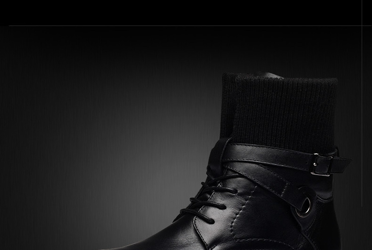 韩版潮男靴子 加棉皮鞋