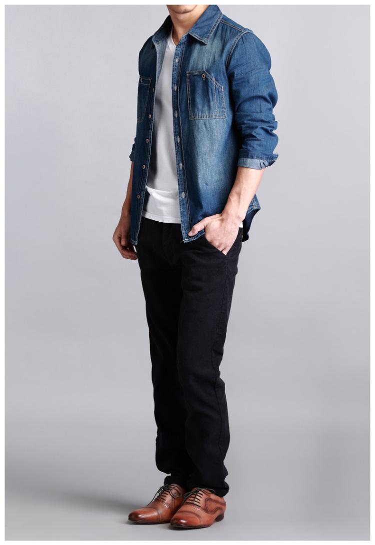 牛仔衬衫男 牛仔衬衫 衬衫 韩版女装图片