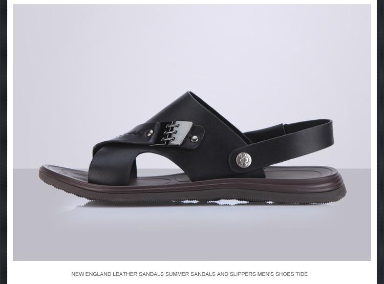 2014新款夏季英伦牛皮沙滩鞋凉拖鞋男士潮鞋9505